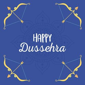 Feliz festival dussehra de la india flechas de oro y arcos con ilustración de cristales