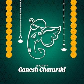 Feliz festival de ganesh chaturthi desea tarjeta con flores de caléndula