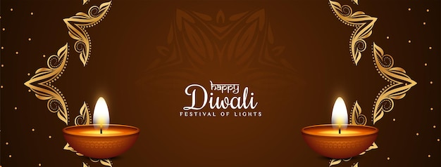 Feliz festival hindú de diwali vector de diseño de banner religioso