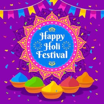 Feliz festival holi con gulal de colores