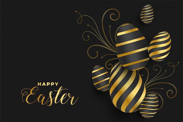 Feliz festival de huevos de pascua de oro banner
