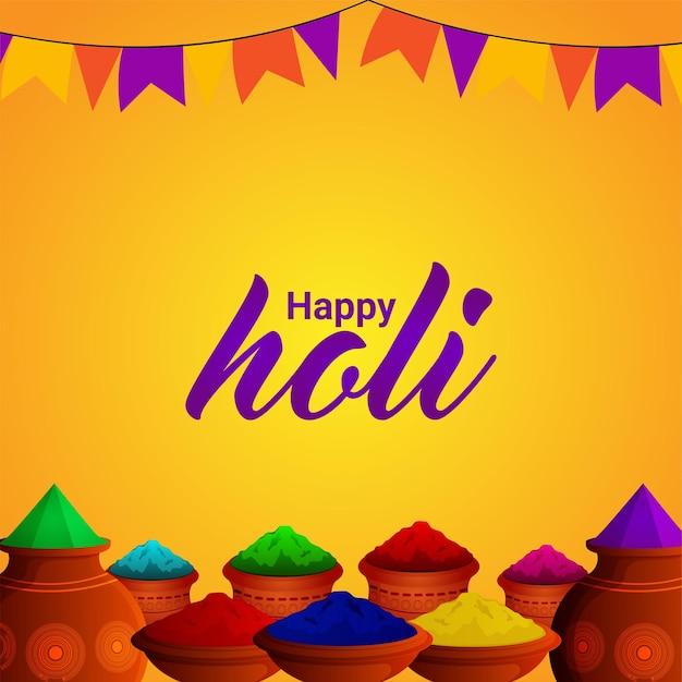Feliz festival indio holi y fondo con gulal colorido