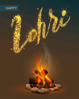 Feliz festival de lohri punjabi. hoguera y texto de letras
