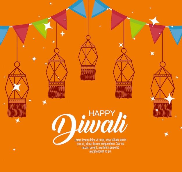 Feliz festival de luces de diwali con linternas y guirnaldas
