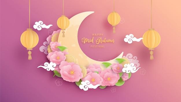 Feliz festival de mediados de otoño con hermoso loto y conejito, media luna.