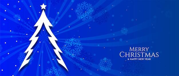 Feliz festival de navidad banner de color azul con vector de árbol