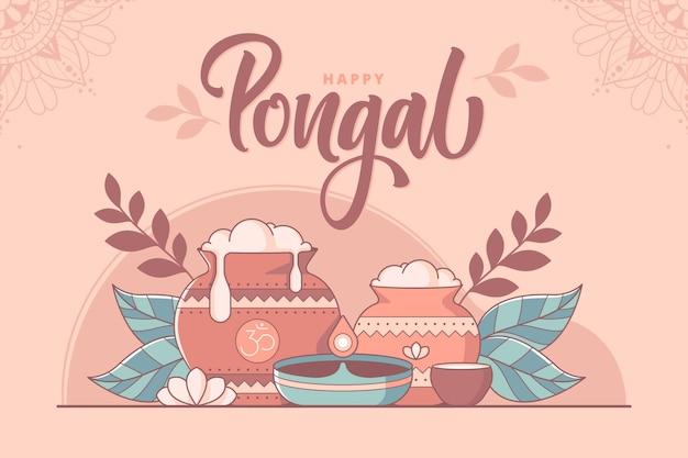 Feliz festival de pongal del sur de la india ilustración