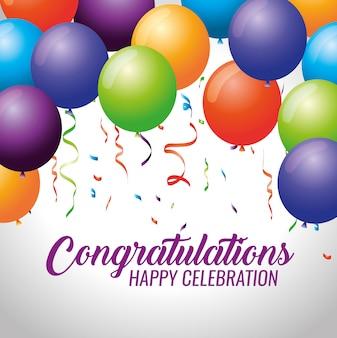 Feliz fiesta de celebración con globos y confeti