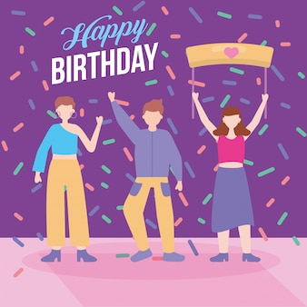 Feliz fiesta de cumpleaños con jóvenes