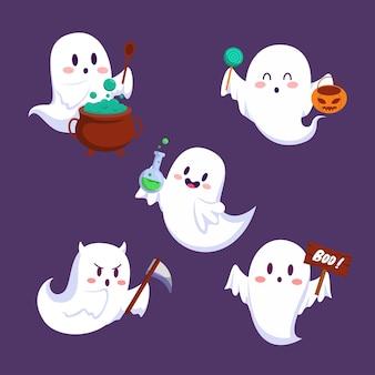 Feliz fiesta de elementos de truco o trato de halloween por invitación