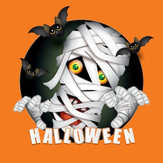 Feliz fiesta de halloween monstruo de la momia.