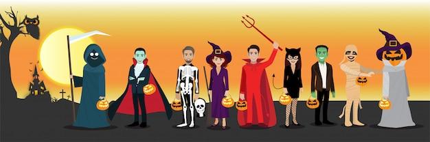 Feliz fiesta de halloween con personaje de dibujos animados en disfraces de halloween.