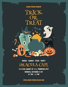 Feliz fiesta de halloween poster template