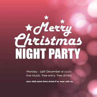 Feliz fiesta de la noche de navidad brillante fondo