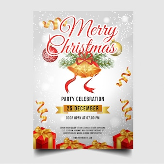 Feliz folleto navideño con adornos navideños.