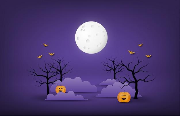 Feliz fondo de banner o póster de halloween con luna grande, nubes nocturnas, árbol desnudo, calabazas y murciélagos en estilo de corte de papel.