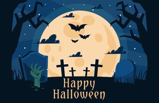 Feliz fondo de cementerio de halloween con mano de zombie se arrastra fuera de una tumba