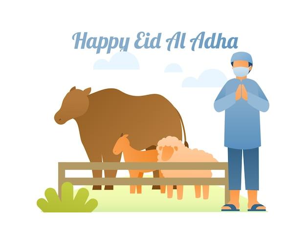 Feliz fondo de eid al adha con personaje masculino musulmán vendiendo vacas, cabras y ovejas