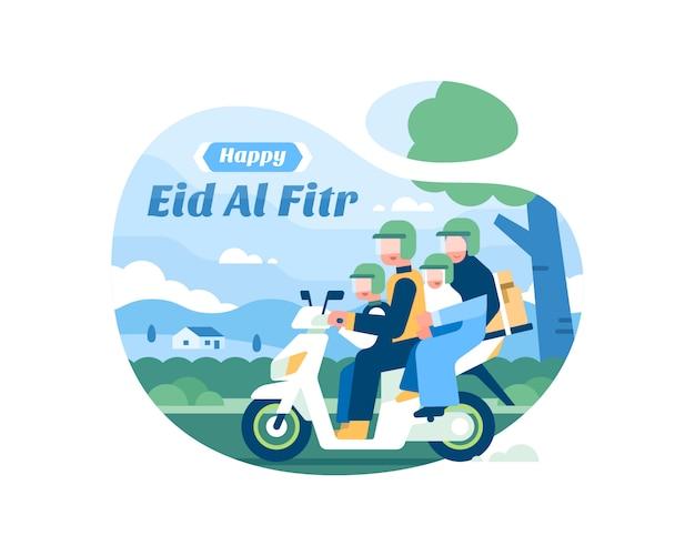 Feliz fondo de eid al fitr con familia musulmana montando una ilustración de motocicleta