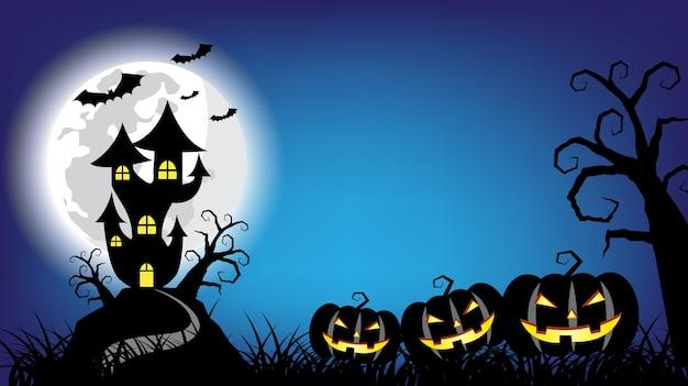 Feliz fondo de halloween con casa embrujada y calabazas malvadas