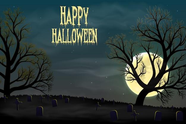 Feliz fondo de halloween con cementerio, árboles y luna.