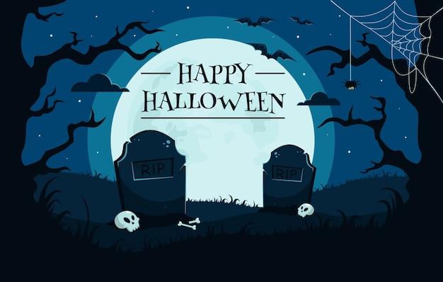 Feliz fondo de halloween con cementerio, calaveras, luna llena, árboles, murciélagos.