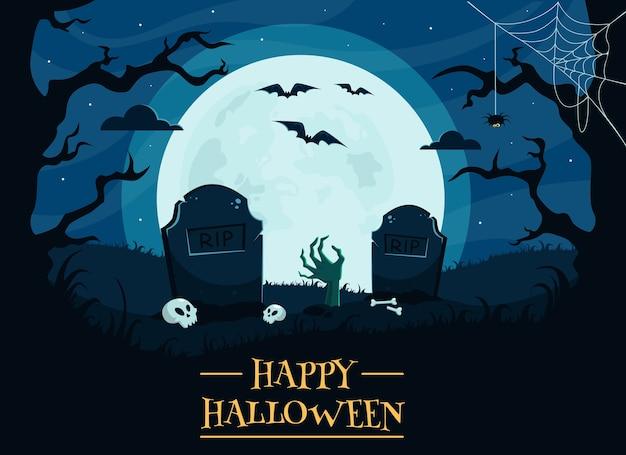 Feliz fondo de halloween con cementerio, calaveras, luna llena, mano de zombie, árboles, murciélagos.