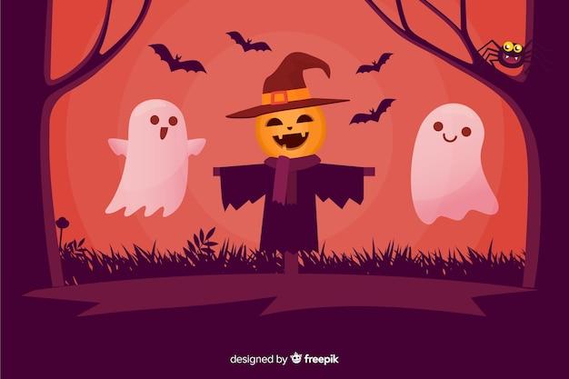 Feliz fondo de halloween de espantapájaros y fantasmas