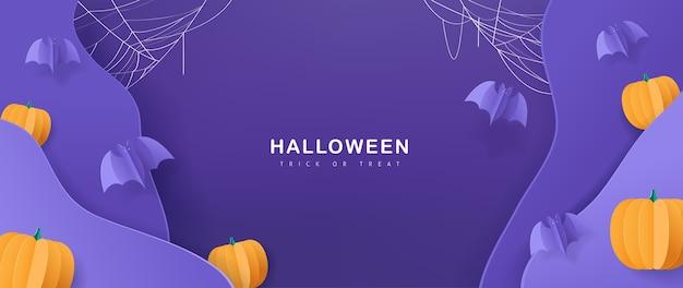 Feliz fondo de halloween, estilo papercut.