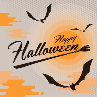 Feliz fondo de halloween con murciélago volando