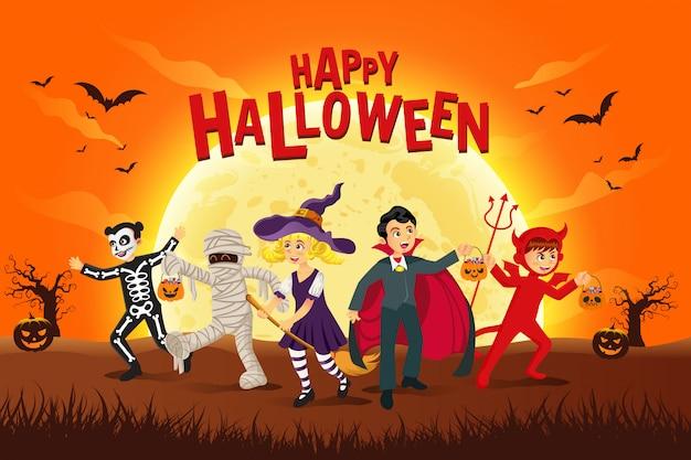 Feliz fondo de halloween. niños vestidos con disfraces de halloween para hacer truco o trato a la luz de la luna