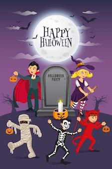 Feliz fondo de halloween. niños vestidos con disfraces de halloween para ir a trick or treating con lápidas antiguas y luna llena. ilustración para tarjeta de feliz halloween, flyer, banner e invitación