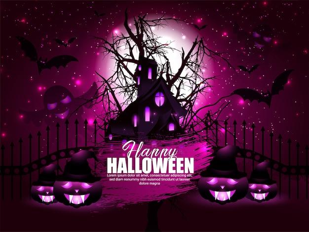 Feliz fondo de halloween con nubes nocturnas y calabazas y murciélago con luna llena en el cielo.