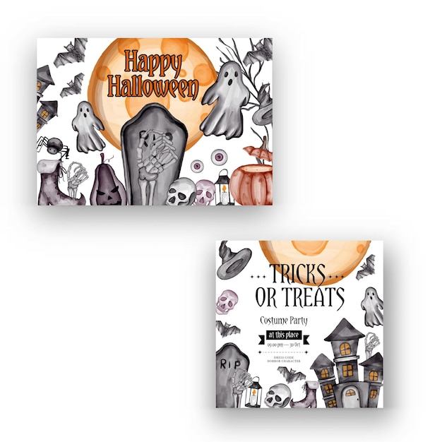 Feliz fondo de halloween y plantilla de volante de invitación a fiesta con símbolos de terror calabaza huesos cráneo fondo de halloween