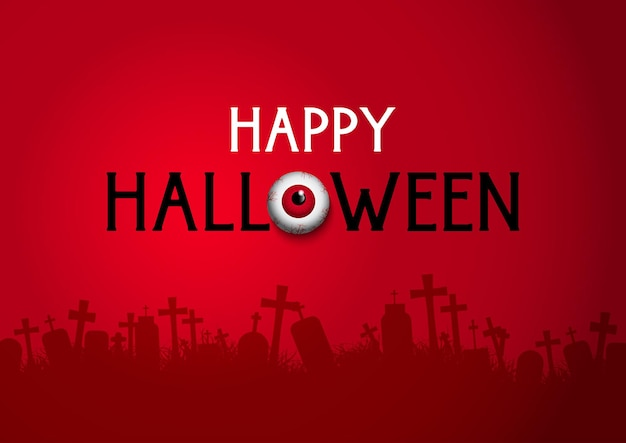 Feliz fondo de halloween con silueta de cementerio y globo ocular