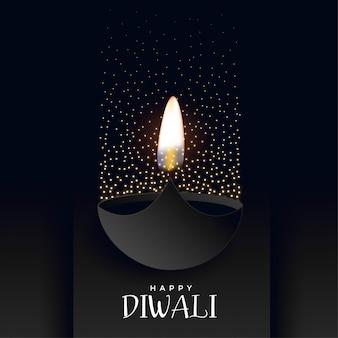 Feliz fondo oscuro diwali con destellos