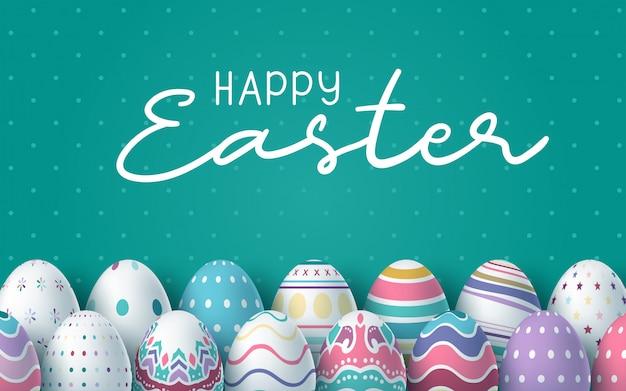 Feliz fondo de pascua con huevos de pascua realistas. tarjeta de pascua