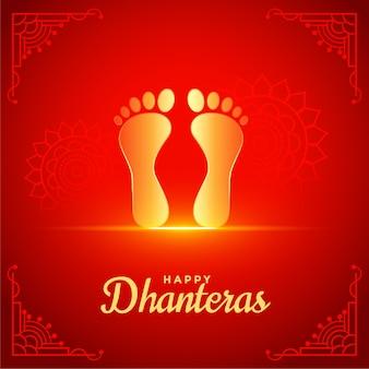 Feliz fondo rojo de dhanteras con pie de pies de dios dorado