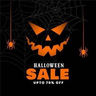 Feliz fondo de venta de halloween con calabaza malvada