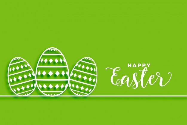 Feliz fondo verde de pascua con diseño de huevos