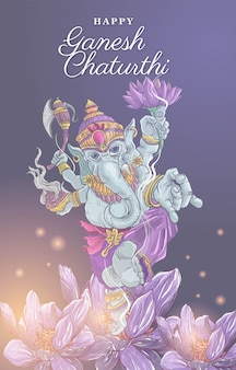 Feliz ganesh chaturthi ilustración con loto