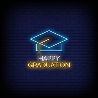 Feliz graduación letreros neón estilo texto