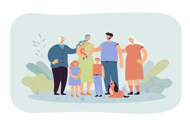 Feliz gran familia de pie juntos y sonriendo ilustración plana. dibujos animados de padre, madre, abuela, abuelo, niños y perro