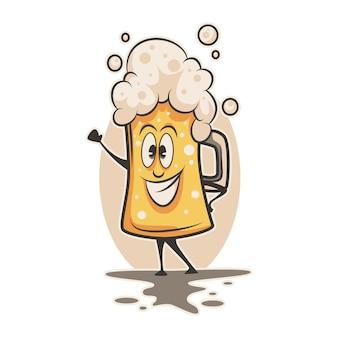 Feliz gran taza de personaje de dibujos animados de cerveza