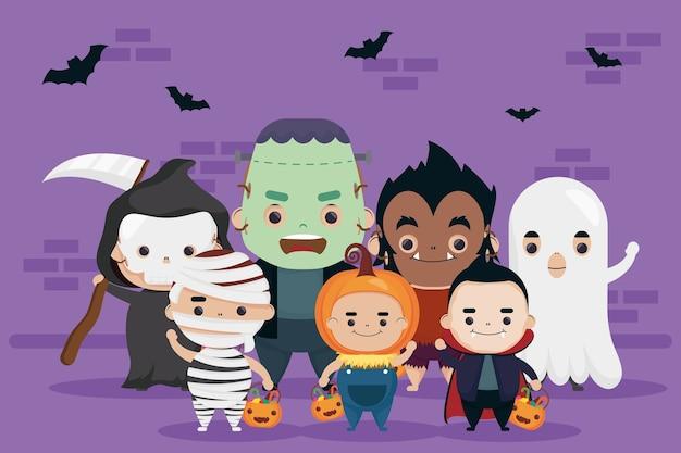 Feliz grupo de halloween de lindos personajes y murciélagos volando