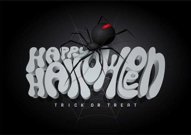 Feliz halloween 3d fuente y araña, fondo de halloween.