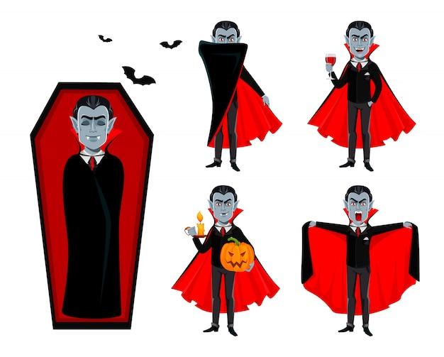 Feliz halloween. apuesto vampiro de dibujos animados