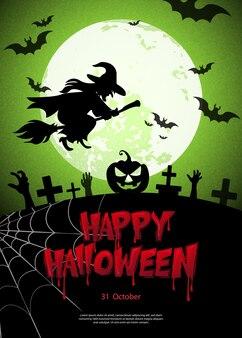 Feliz halloween aterrador cementerio noche oscura luna llena murciélago y bruja sangrienta diseño tipográfico texto