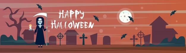 Feliz halloween banner muerte con guadaña en cementerio cementerio con tumbas y murciélagos