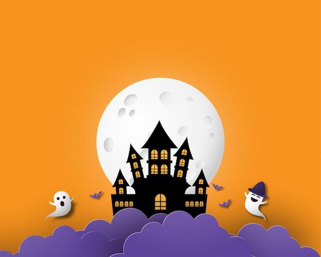 Feliz halloween banner o cartel de fondo con luna grande, nubes nocturnas, fantasma y castillo en papel cortado estilo.